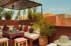 Roof top terrace at Café des Epices in Marrakech. A perfect spot for a coffee, shade, pancakes with honey and just listening to the sounds of the city and the souk