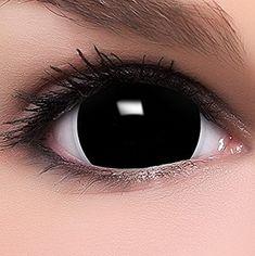 Farbige Mini Black Sclera Kontaktlinsen Lenses inkl. 10ml Kombilösung und Behälter | SUPER EFFEKT: Extrem gruselig gefärbtes Fun & Crazy Motiv-Linsen Set für Ihre Verkleidung als Vampir, Zombie, Dämon, Geist, Volturi etc. / Weiche crazy Motiv Linsen für Ihr Halloween oder Fasnacht Kostüm | #cosplay #karneval #kontaktlinse #verkleidung #halloween #kostüm | *werbung