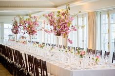 Spring wedding blossom table decorations