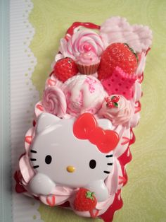 Strawberries and Cream Kawaii Hello Kitty Decoden by Lucifurious, $42.00