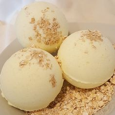Oatmeal Milk & Honey Bath Bomb A customer favorite for its mild oat and honey scent. These bath bombs are stuffed with real oats, ultra soft sweet almond oil, and soothing Epsom salts.  Simple fresh ingredients: baking soda, citric acid, epsom salt, corn starch, sweet almond oil, fragrance oil, oatmeal, witch hazel