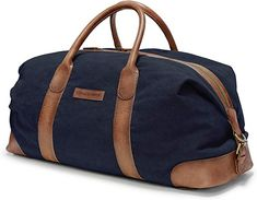 KIMBERLEY - Duffel Weekender - Navy Blue Bags Travel Bags - Kimberley Duffel Weekender - Vintage XL travel bag for men made from canvas and buffalo leather Retro Vintage, Vintage Travel, Mens Travel Bag, Travel Bags, Weekender, Adventure Gear, Canvas Leather, Sporty, Pure Products