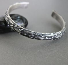 Mens Heavy Sterling Silver Cuff Bracelet, Gothic Pattern