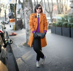 Attention everyone who owns orange outerwear: you need to stock up on fuchsia sweaters right now.