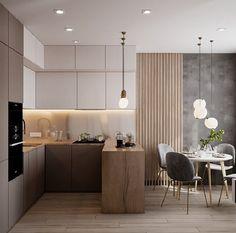 Kitchen Room Design, Modern Kitchen Design, Home Decor Kitchen, Interior Design Kitchen, Small Apartment Kitchen, Kitchen Contemporary, Kitchen Small, Kitchen With Living Room, Small Apartment Interior Design