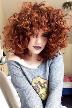 Shoulder Length Curly Hair Red ❤ Curly hair always looks adorable, and we collected hairstyles for curly hair to prove you that. We are sure you will save many pics for later! Curly Hair Styles, Curly Hair With Bangs, Short Curly Hair, Hairstyles With Bangs, Cool Hairstyles, Hairstyle Ideas, Color For Curly Hair, Curly Ginger Hair, Short Curls