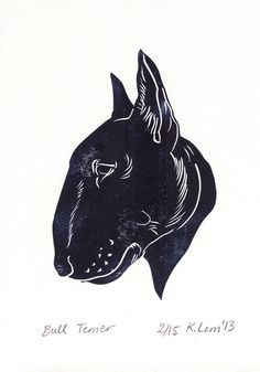 Bull Terrier Silhouette Portrait Limited by moppetandmittens, $30.90