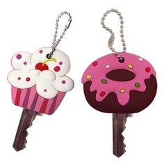 Capinhas de borracha em formato de doces para deixar as chaves protegidas e estilosas.