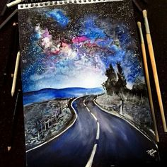Watercolor road galaxy
