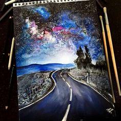 Watercolor road galaxy