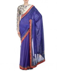 Blue Persian Art Saree - Tarun Tahiliani - Designers