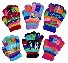 Toddler-Kids Insulated Gloves Children Knit Multi Colors With Rubberized 6 pairs:   You wake up your cutie-pie by exclaiming that the first snow of the season has arrived......... now, little honey-bunch wants to go out and shovel the snow........ but what will be with those sweet little fingers?... of course you think about gloves, but why not anti-skid gloves? with these gloves, the shovel will stay in their hands until their cheeks turn sheepish-pink and you beg them to come inside ...