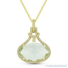 The featured pendant is cast in 14k yellow gold and showcases a finely crafted halo setting set with a checkerboard oval cut green amethyst center stone accentuated by round brilliant cut diamonds around the amethyst and all the way up the bale.