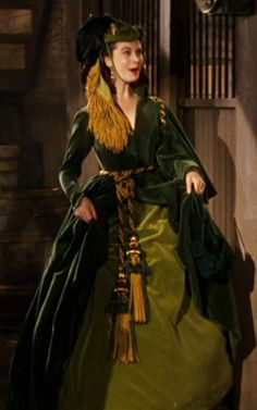 Scarlett wearing the green velvet dress made from the portieres at Tara in 'Gone With the Wind' (1939)