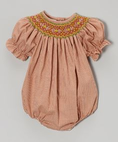 Another great find on #zulily! Dark Orange Geometric Bishop Bubble Bodysuit - Infant #zulilyfinds