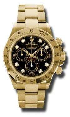 Rolex Cosmograph Daytona Black Dial 18kt Yellow Bracelet Gold Men's  Watch116528BKDO