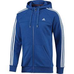 Felpa Essentials 3-Stripes con cappuccio e zip integrale Uomo, Blue Beauty / White, zoom