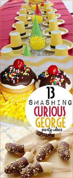 Curious George Party Ideas. amazing party ideas for your favorite little monkey. Delicious recipes, monkey decor and party favors all featuring your favorite mess making monkey and the man in the yellow hat.