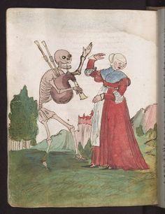 """Seite aus dem so genannten """"Zimmerischen Totentanz"""" im Vergänglichkeitsbuch des Wilhelm Werner von Zimmern, Württembergische Landesbibliothek, Cod. Don. A III 54, fol. 101v, Der Bruder 1540-50"""