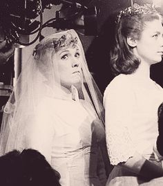 "Julie Andrews and Charmian Carr behind the scenes of ""The Sound of Music"""