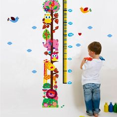 Cartoon Animals Height Scale Measure Chart Removable Wall Sticker Kids Decor CN in Home, Furniture & DIY, Home Decor, Wall Decals & Stickers | eBay