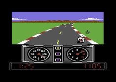 Scene from Super Cycle, Commodore 64, 1986. A slick-looking and exciting racer, from the publishers of the also cool Pitstop II — Epyx.