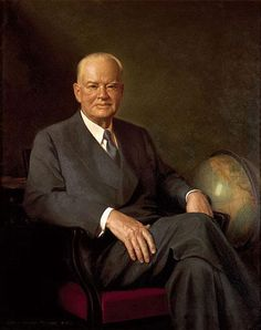 Official White House Portrait of Herbert Clark Hoover ~ 31st President of the United States. (Term: 1929-1933).  He supported the Good Neighbor Policy with South America.  Shortly after assuming the presidency, the Great Depression broke out.