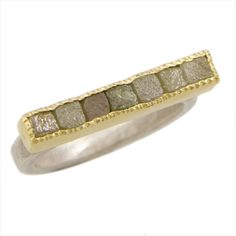 Todd Reed  - Silver, 18ky gold, raw diamond cubes channel set of seven stones. Hand forged and fabricated. $1,320 #rings