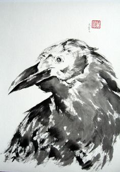 The way the artist used ink to create the crow reminds me to the works of Rick Nilson and Tom Brown. I could try this similar Japanese style using lots of water but keeping the brush style of these artists, Crow Art, Raven Art, Bird Art, Japanese Painting, Japanese Art, Japanese Style, Sumi E Painting, Crow Painting, Jackdaw