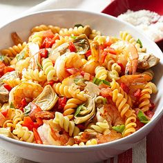 Enjoy the natural flavors of veggies without a complicated dressing. This pasta salad uses just a touch of olive oil to cook vegetables and gets hits of flavor from fresh basil and Parmesan cheese. Make it a meal by adding shrimp or chicken.