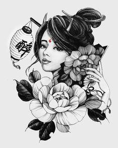 Japanese Geisha Tattoo, Japanese Tattoo Designs, Japanese Art, Japanese Kimono, Tattoo Sketches, Tattoo Drawings, Body Art Tattoos, Girl Tattoos, Samourai Tattoo