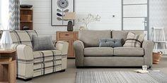 Michigan Large Sofa (3 Seats) Soft Woven Check Natural SlimBlock-Light from Next