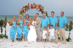 "Photos of Barefoot Beach Wedding Attire and ""Up-Do's"""