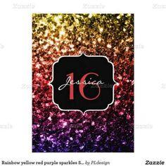 Beautiful Rainbow glitter sparkles Sweet 16 Invitations by #PLdesign #RainbowSparkles #SparklesInvite #Sweet16