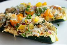 Not Quite a Vegan...?: Day 17: 21 Day Detox with Stuffed Mushroom Zucchini Boats
