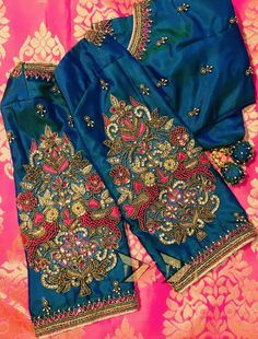 Saree Blouse Neck Designs, Bridal Blouse Designs, Peacock Embroidery Designs, Hand Work Blouse Design, Maggam Work Designs, Designer Blouse Patterns, Sleeve Designs, Blouse Styles, Maggam Works