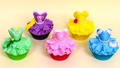 Disney Princess Cupcakes - Aurora, Cinderella, Belle, Rapunzel,Tiana by Cakes Step by Step