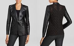 Lafayette 148 New York Stelly Lace Back Leather Jacket
