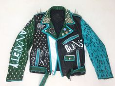 Leather Punk Jacket Hand Painted Mens Medium by TheCosmicCircle