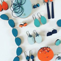 Formica laminates turned into contemporary jewellery by creative designer Emily Kidson