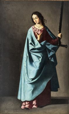 Francisco de Zurbarán Saint Euphemia, 1637 Palazzo Bianco (Musei di Strada Nuova), Genova Euphemia bears a large saw as a symbol of her martyrdom. Baroque Painting, Baroque Art, Spanish Painters, Spanish Artists, Francisco Goya, Religious Paintings, Religious Art, Art Espagnole, Spirited Art