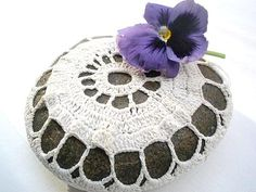 Crochet, lace BIG stone - Nature decorated river pebble stone, covered with vintage crochet lace motif, hand made. via Etsy
