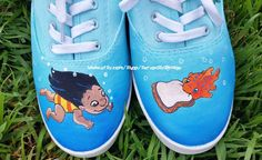 Lilo and, Pudge the weather controlling fish Custom Painted shoes. Pretty blues with the classic scene from Lilo and Stitch. Any size by seriouslysavage on Etsy https://www.etsy.com/listing/271067212/lilo-and-pudge-the-weather-controlling