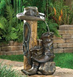 Water Fountain Cowboy Boot Log Hat Rope Western Yard Garden Cowgirl Ranch
