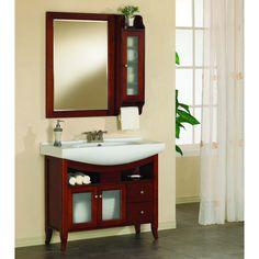 largo 36inch rectangular bathroom vanity mirror with side medicine cabinet cherry