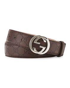 ee1b9f2244fe Gucci Interlocking G-Buckle Leather Belt, Chocolate Reversible Belt, Gucci  Men, Brown. Neiman Marcus