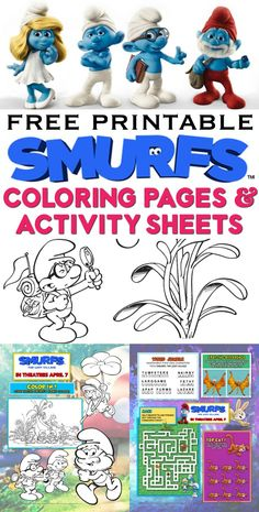 Lots of free printable Smurfs coloring pages and activity sheets. Sony Pictures created these official printables, then gave them to me to share with YOU! Graphing Activities, Party Activities, Craft Activities For Kids, Projects For Kids, Preschool Activities, Diy For Kids, Art Projects, Kids Printable Coloring Pages, Coloring Pages For Kids