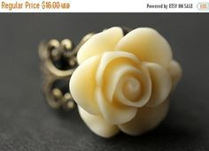HOLIDAY SALE Ivory Rose Ring. Ivory Flower Ring. Gold Ring. Silver Ring. Bronze Ring. Copper Ring. Adjustable Ring. Handmade Jewelry. by StumblingOnSainthood from Stumbling On Sainthood. Find it now at http://ift.tt/2hmBypH!