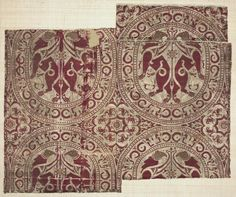 Griffin Silk, 1100s Islamic Spain, Almeria, Almoravid period, 12th century lampas weave, brocaded; silk and gold thread, Overall - h:37.00 w:40.00 cm (h:14 9/16 w:15 11/16 inches).