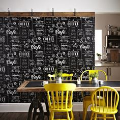 Coffee Shop Black / White Wallpaper by Graham and Brown